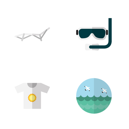 Flat Season Set Of Ocean, Clothes, Deck Chair And Other Vector Objects. Also Includes Ocean, Swimmer, Sea Elements.
