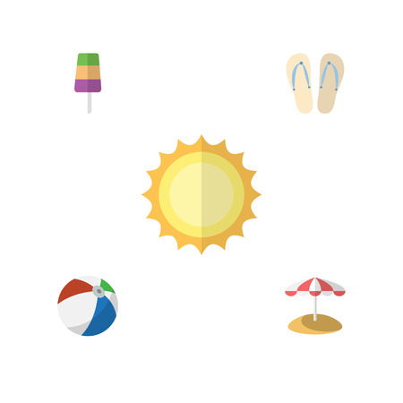 Flat Hot Set Of Sunshine, Parasol, Sundae And Other Vector Objects. Also Includes Sphere, Sundae, Cream Elements.