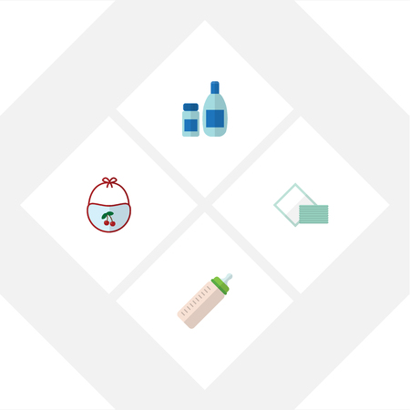 nursing bottle: Flat Infant Set Of Feeder, Pinafore, Napkin And Other Vector Objects. Also Includes Cosmetics, Tissue, Bib Elements.