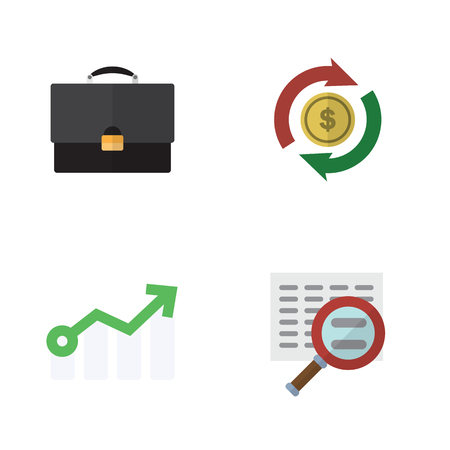 Flat Gain Set Of Portfolio, Scan, Growth And Other Vector Objects. Also Includes Interchange, Growth, Portfolio Elements.