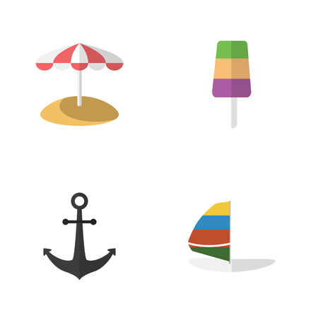Flat Beach Set Of Ship Hook, Parasol, Sundae And Other Vector Objects. Also Includes Ice, Cream, Sailboard Elements. Illustration