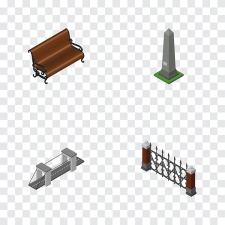 Isometric Street Set Of Dc Memorial, Sitting, Highway And Other Vector Objects. Also Includes Highway, Hedge, Seat Elements.