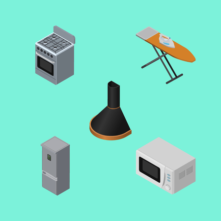 Isometric Appliance Set Of Microwave, Stove, Cloth Iron And Other Vector Objects. Also Includes Cloth, Stove, Extractor Elements.