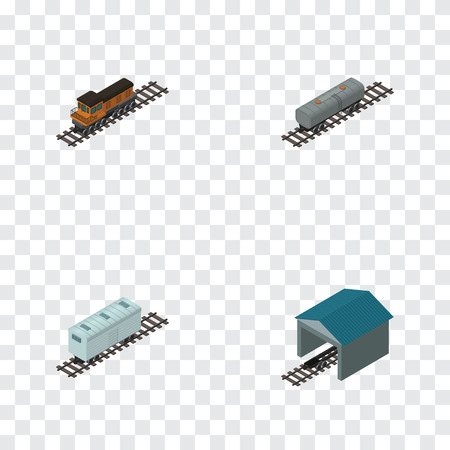 depot: Isometric Wagon Set Of Railroad Carriage, Train, Oil Wagon And Other Vector Objects. Also Includes Wagon, Railway, Petroleum Elements.