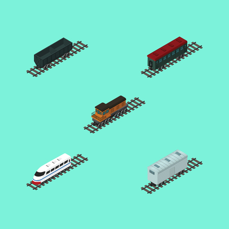 Isometric Wagon Set Of Subway Vehicle, Railroad Carriage, Underground And Other Vector Objects. Also Includes Locomotive, Speed, Metal Elements.