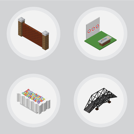 Isometric City Set Of Barrier, Aiming Game, Flower Decoration And Other Vector Objects. Also Includes Brick, Flower, Bridge Elements. Illustration