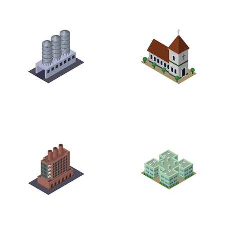 Isometric Architecture Set Of Clinic, Water Storage, Chapel And Other Vector Objects. Also Includes Warehouse, Chapel, Storage Elements. Illustration