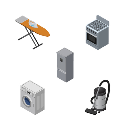 Isometric Electronics Set Of Cloth Iron, Vac, Laundry And Other Vector Objects. Also Includes Refrigerator, Machine, Fridge Elements.