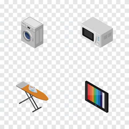 Isometric Technology Set Of Cloth Iron, Television, Laundry And Other Vector Objects. Also Includes Microwave, Laundry, Kitchen Elements. Illustration