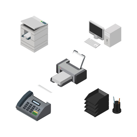 Isometric Business Set Of Printing Machine, Desk File Rack, Scanner And Other Vector Objects. Also Includes PC, Telephone, Rack Elements.