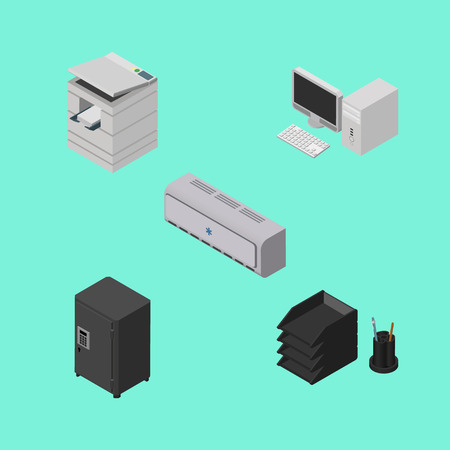 Isometric Business Set Of Scanner, Desk File Rack, Strongbox And Other Vector Objects. Also Includes Cooler, Computer, Locked Elements. Illustration
