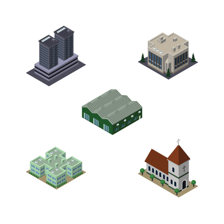 Isometric Urban Set Of Tower, Clinic, Chapel And Other Vector Objects. Also Includes Tower, Office, Church Elements.