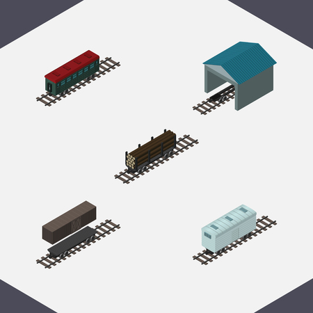 hangar: Isometric Wagon Set Of Subway Vehicle, Depot, Lumber Shipping And Other Vector Objects. Also Includes Container, Railway, Wagon Elements. Illustration