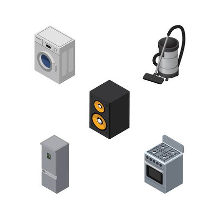 vac: Isometric Appliance Set Of Kitchen Fridge, Laundry, Vac And Other Vector Objects. Also Includes Vac, Refrigerator, Loudspeaker Elements.