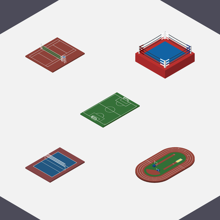 ko: Isometric Training Set Of Run Stadium, Soccer, Volleyball And Other Vector Objects. Also Includes Arena, Volleyball, Boxing Elements. Illustration