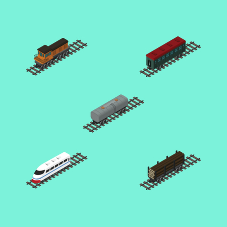 Isometric Train Set Of Oil Wagon, Underground, Lumber Shipping And Other Vector Objects. Also Includes Lumber, Oil, Passenger Elements. Illustration