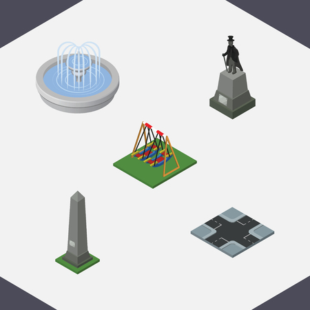 Isometric City Set Of Dc Memorial, Intersection, Sculpture And Other Vector Objects. Also Includes Washington, Dc, Swing Elements.