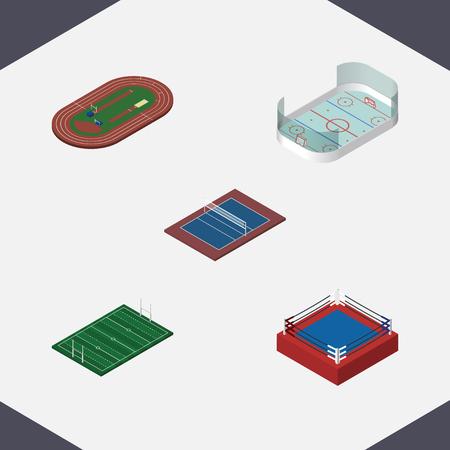 Isometric Sport Set of Fighting, Tennis, jeux de glace et autres objets vectoriels. Comprend également le hockey, le rugby, les éléments de combat. Banque d'images - 76135329
