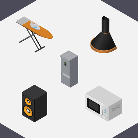 Isometric Electronics Set Of Air Extractor, Cloth Iron, Kitchen Fridge And Other Vector Objects. Also Includes Microwave, Board, Cloth Elements. Illustration