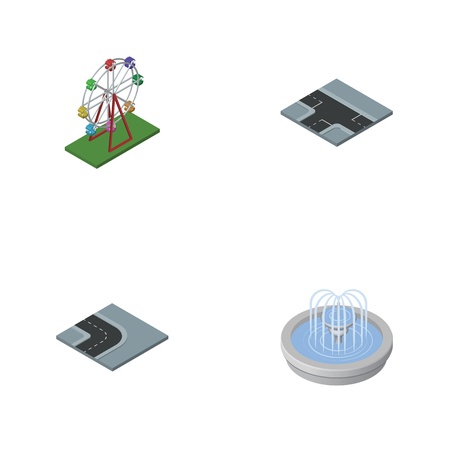 granite: Isometric Architecture Set Of Turning Road, Crossroad, Park Decoration And Other Vector Objects. Also Includes Fountain, Attraction, Wheel Elements.