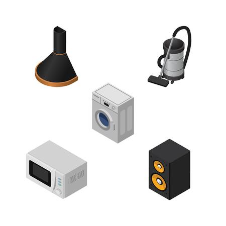air cleaner: Dispositivo Isométrico Conjunto De Extractor De Aire, Lavandería, Microondas Y Otros Objetos Vectoriales. También incluye limpiador, música, elementos de la capilla.
