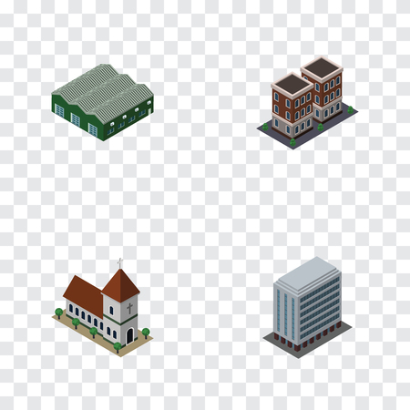 church interior: Isometric Building Set Of House, Chapel, Office And Other Vector Objects.