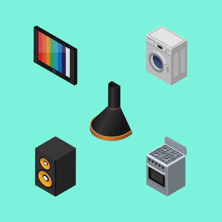 Isometric Technology Set Of Laundry, Stove, Television And Other Vector Objects.