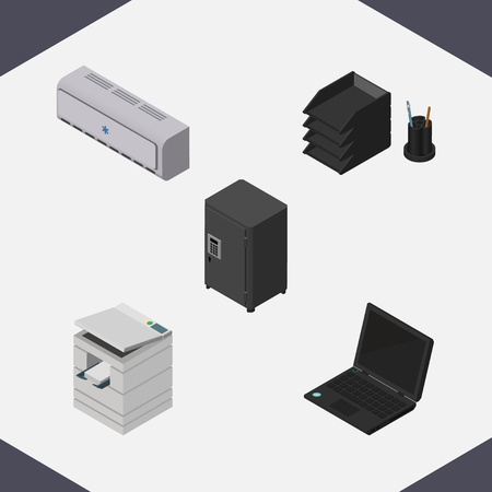 Isometric Cabinet Set Of Wall Cooler, Strongbox, Desk File Rack And Other Vector Objects.