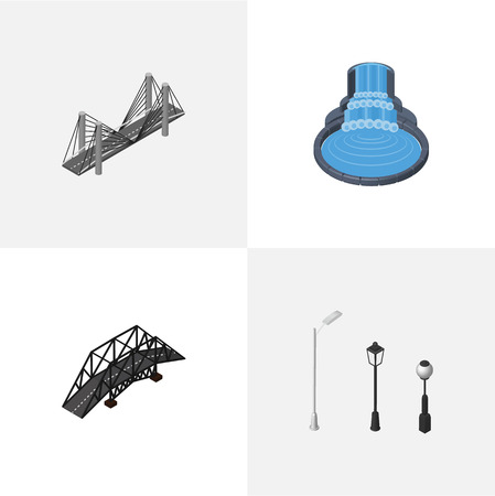 Isometric Urban Set Of Garden Decor, Street Lanterns, Expressway And Other Vector Objects. Also Includes Highway, Fountain, Park Elements. Illustration