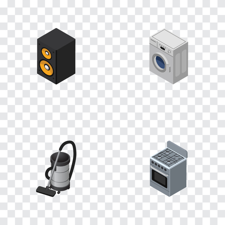 vac: Isometric Electronics Set Of Music Box, Vac, Stove And Other Vector Objects.