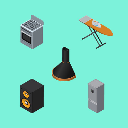 Isometric Appliance Set Of Cloth Iron, Air Extractor, Music Box And Other Vector Objects. Illustration