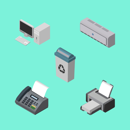 Isometric Work Set Of Wall Cooler, Computer, Garbage Container And Other Vector Objects.