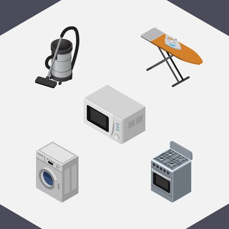 Isometric Electronics Set Of Stove, Cloth Iron, Laundry And Other Vector Objects.