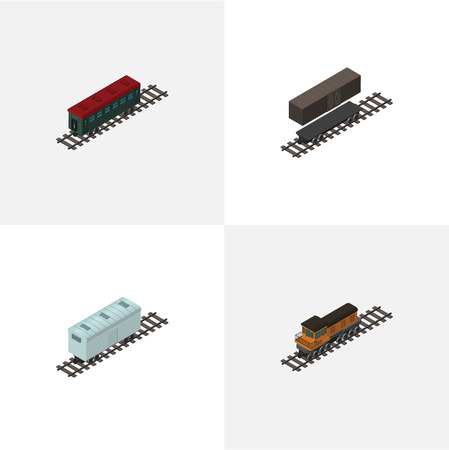 Isometric Train Set Of Railroad Carriage, Delivery Tank, Subway Vehicle And Other Vector Objects. Illustration