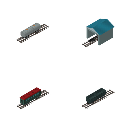 Isometric Wagon Set Of Subway Vehicle, Oil Wagon, Depot And Other Vector Objects.