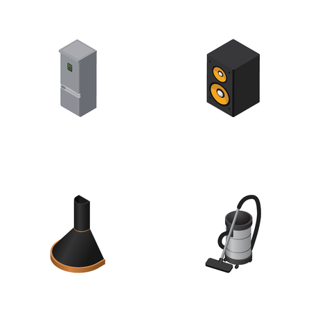 vac: Isometric Device Set Of Vac, Music Box, Air Extractor And Other Vector Objects. Also Includes Fridge, Vac, Vacuum Elements.