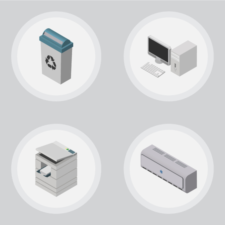 Isometric Cabinet Set Of Scanner, Garbage Container, Wall Cooler And Other Vector Objects. Also Includes Trash, Bin, Scanner Elements.