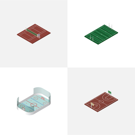 Isometric Competition Set Of Ice Games, Volleyball, B-Ball And Other Vector Objects.