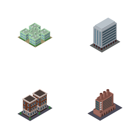 Isometric Architecture Set Of Office, Clinic, House And Other Vector Objects.
