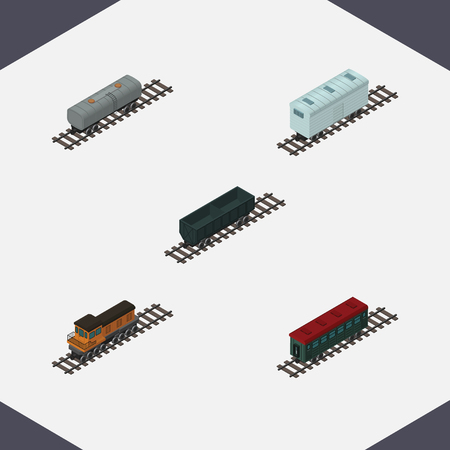 Isometric Railway Set Of Train, Railroad Carriage, Oil Wagon And Other Vector Objects.