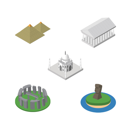 Isometric Travel Set Of Egypt, Chile, Athens And Other Vector Objects. Also Includes Chile, Taj, Monument Elements.