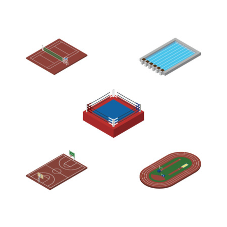 water basin: Isometric Lifestyle Set Of B-Ball, Volleyball, Basin And Other Vector Objects. Illustration