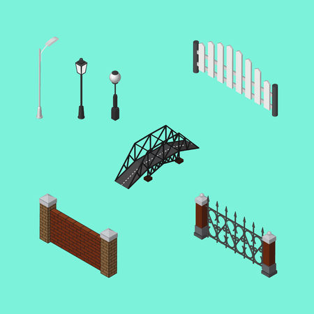 Isometric City Set Of Expressway, Fence, Barricade And Other Vector Objects. Illustration