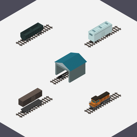 depot: Isometric Transport Set Of Train, Carbon Railway Container, Railroad Carriage And Other Vector Objects.