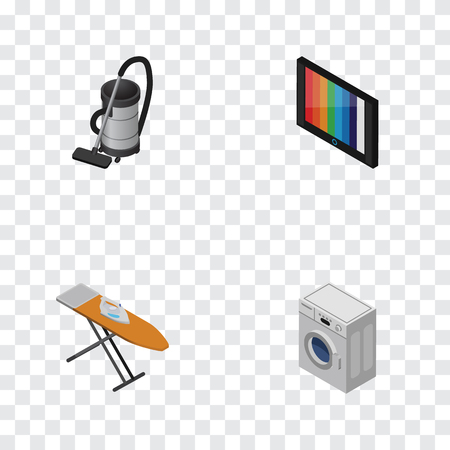 Isometric Technology Set Of Vac, Cloth Iron, Television And Other Vector Objects.