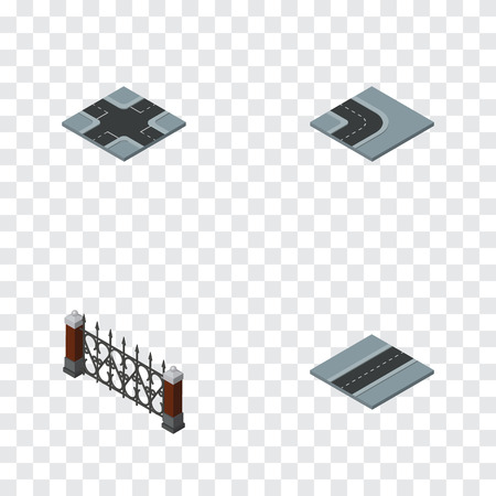 Isometric City Set Of Path, Intersection, Fence And Other Vector Objects. Also Includes Turn, Hedge, Crossroad Elements.
