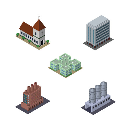 Isometric Building Set Of Industry, Office, Chapel And Other Vector Objects. Also Includes Chapel, Hospital, Church Elements. Illustration
