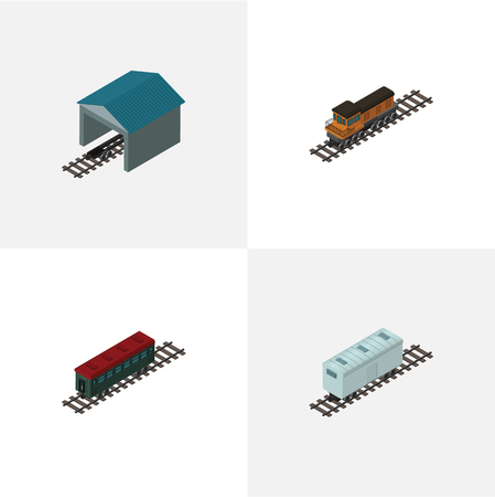 goods station: Isometric Wagon Set Of Subway Vehicle, Train, Railroad Carriage And Other Vector Objects. Also Includes Train, Railway, Passenger Elements.