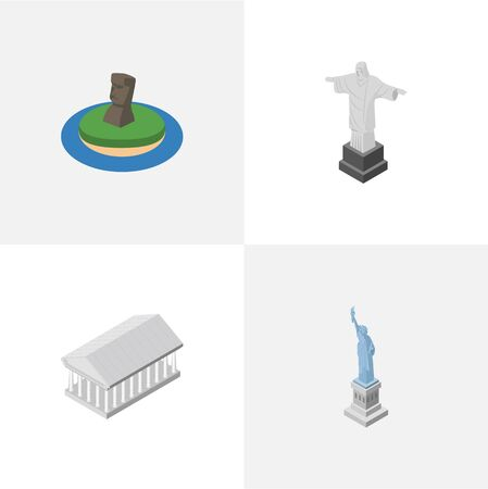 Isometric Architecture Set Of New York, Chile, Athens And Other Vector Objects. Also Includes Liberty, Redeemer, Chile Elements. Illustration