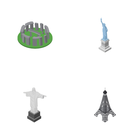 Isometric Architecture Set Of England, New York, Rio Vector Objects. Also Includes Paris, Stonehenge, Eiffel Elements.